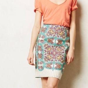 Anthropologie Maeve Mayola Pencil Skirt Paisley